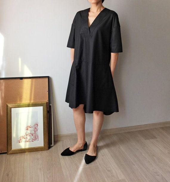 Minimalist dress!! LOVE THIS DESIGNER // V-NECK DRESS WITH DROP-WAIST DESIGN AND ASYMMETRICAL HEM