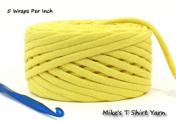 'Mellow Yellow' T Shirt Yarn Recycled 34 Yards From MikesTShirtYarn