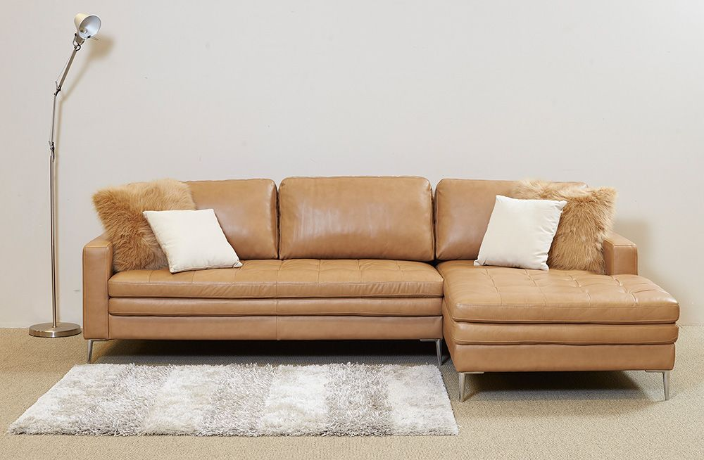 Designed Along Clean Modern Lines The 2 Seater Prato Leather Lounge With Chaise Is