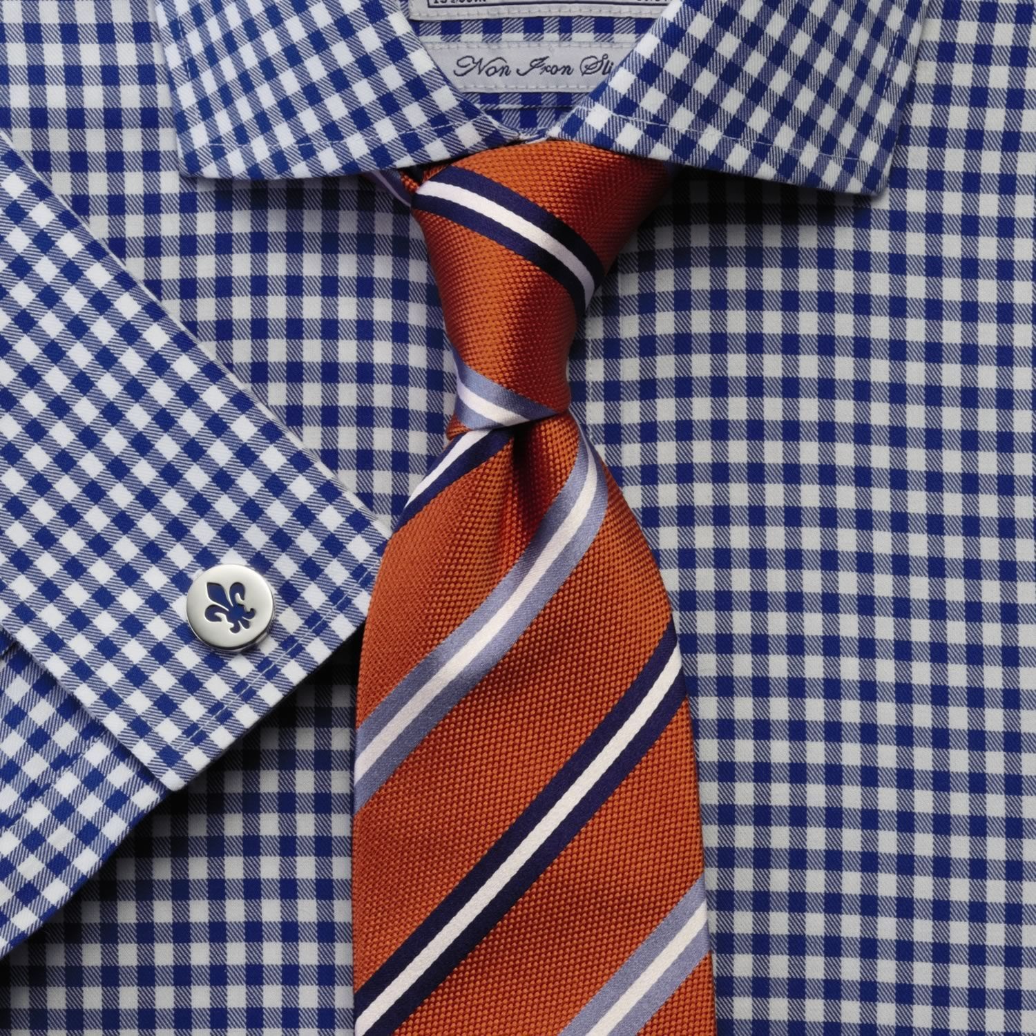 Tie patterns and when to wear them blue gingham shirts for Striped shirt with tie