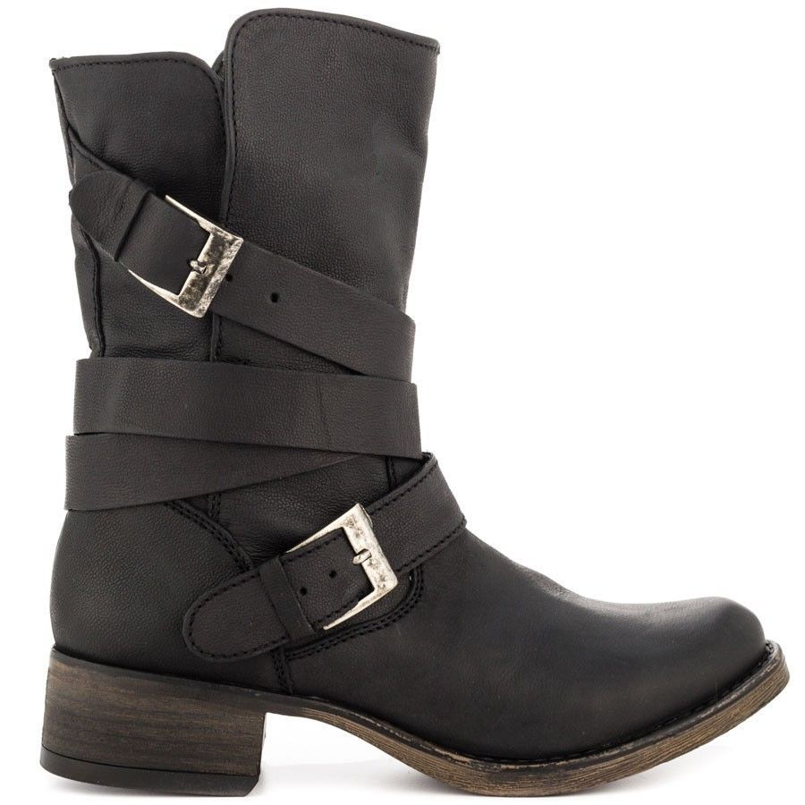 New Steve Madden Womens Brewzzer Black Leather Slouch Buckle Mid Calf Boots  7.5