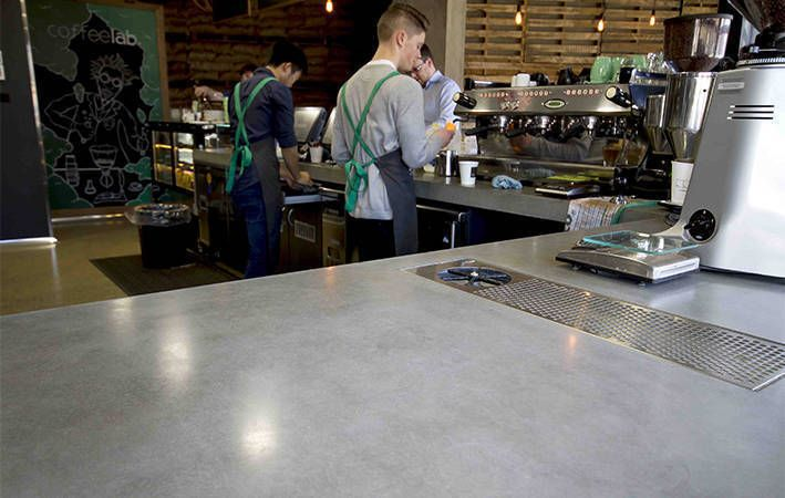 Makers Lane :: Concrete Cafe Counter Custom Made, Bespoke Furniture made in Australia.