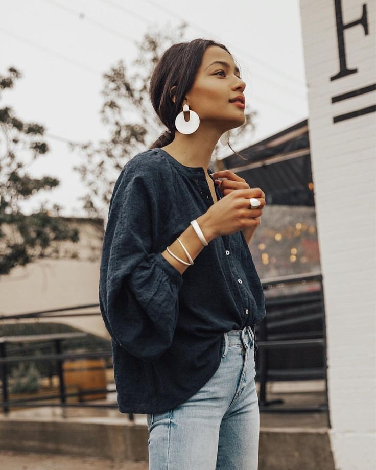 Oversized blouse and statement earrings