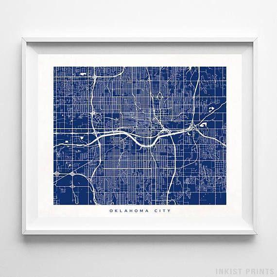 Oklahoma City Map Oklahoma Print Oklahoma City Poster Oklahoma