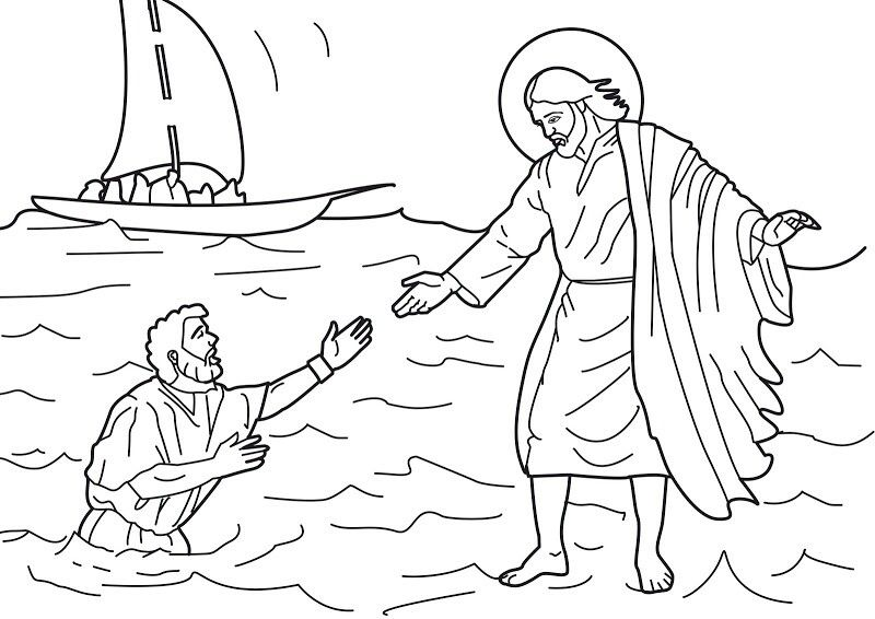 Peter Walks On Water Coloring Page Jesus Coloring Pages Jesus