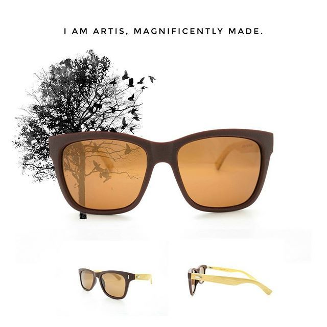 Artis is a bold, spacious frame with a straight brow and generous lenses together with classic walnut wooden temple arms that shows confidence in style // Polarized Lenses #DavidJann #DJWooden2017Collection