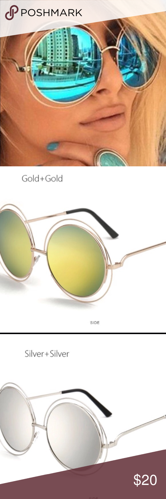 cd5d9172f01a Oversized round sunglasses blue  silver   gold Beautiful oversized round  sunglasses blue lenses gold frame  silver lenses silver frame  gold lenses  gold ...
