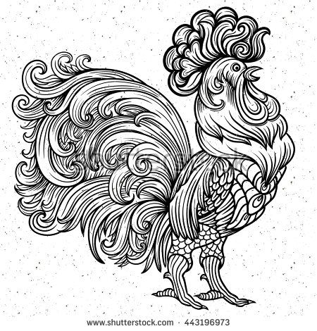 Vector Stylized Celebration Red Fiery Rooster Coloring Zentangle