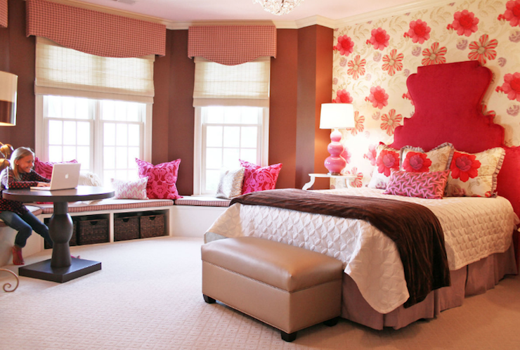 Suzie: Lucy and Company - Tween girl' bedroom with red velvet headboard, Robert Abbey Triple ...
