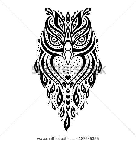 Owl Tribal Pattern Polynesian Tattoo Vector Illustration Owl Tattoo Design Pattern Tattoo Owl Tattoo Small