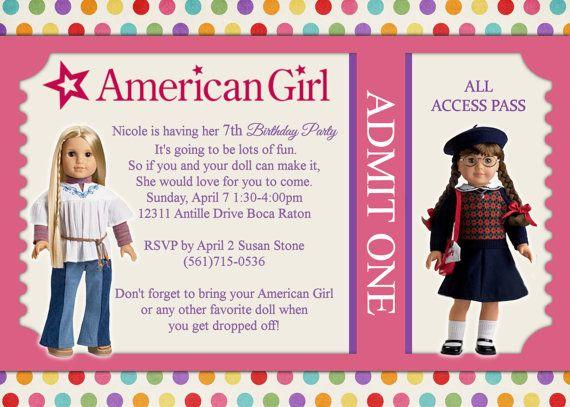American Girl Doll Birthday Invitation by LittleDoodlePrints – American Girl Birthday Invitations