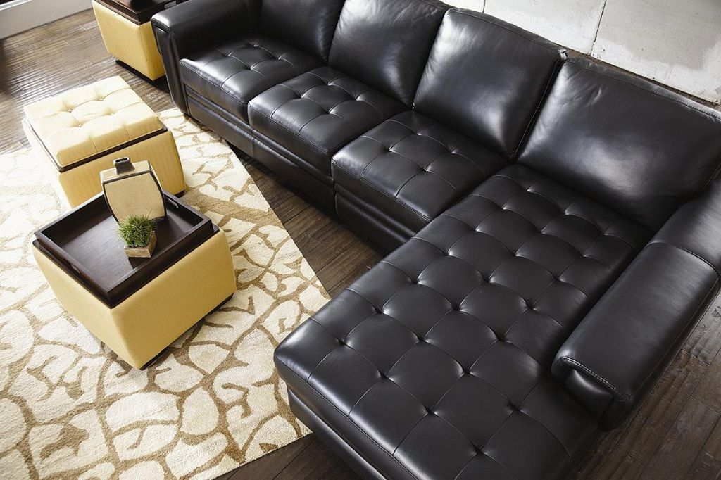 Elegant Black Lazy Boy Sectional Sofa With Chaise Lounger