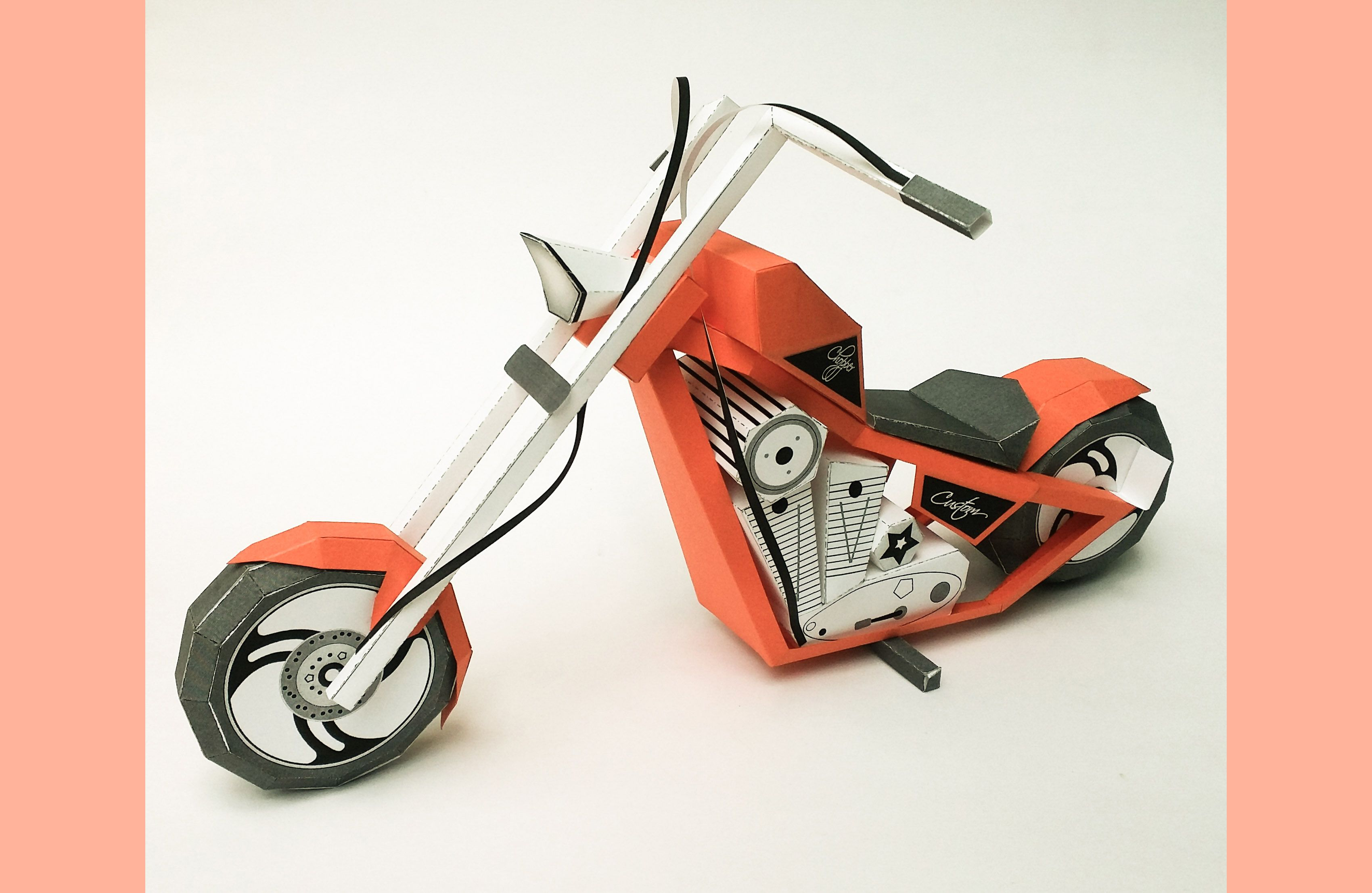 Diy Papercraft Bike American Chopper Model Paper Bike Paper Toys