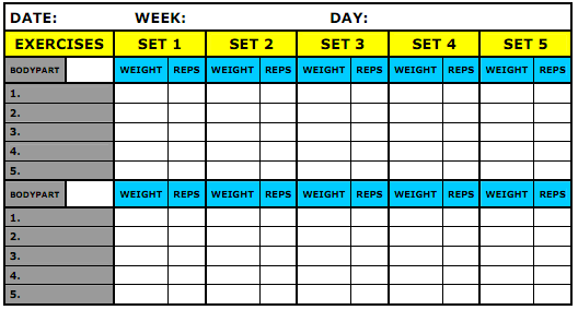 Workout journal excel template we are all about workouts for Weight training log template