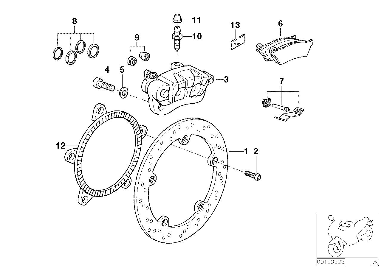 Bmw R 1150 RT, 2000, Brakles, rear whel brake