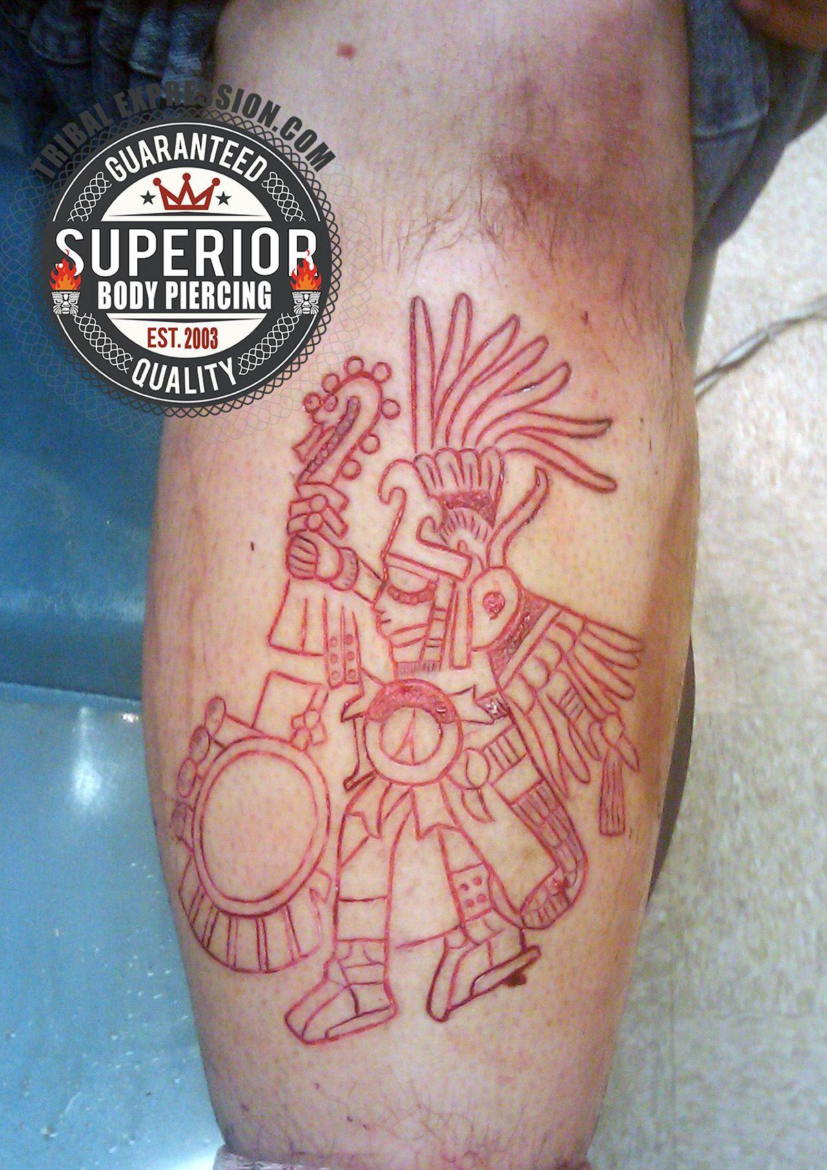 65aa2b160311c Aztec scarification done by Keith Kennedy @TribalCalgary #tribalexpression  #branding #scarification #scars