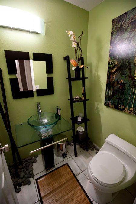 I Like The Zen Look Of This Small Bathroom Vannaya Komnata V Zelenyh Tonah Cveta Dlya Vannyh Komnat Cvetovye Shemy Dlya Vannoj Komnaty