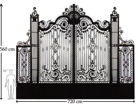 A Big French Wrought Iron Driveway Gate With Two Side Doors For Pedestrians Ca 1880 Material Wrought Iron Driveway Gates Wrought Iron Gates Door Gate Design