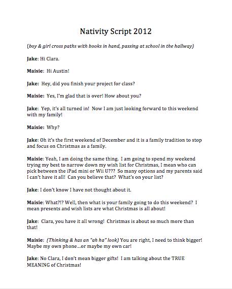 Downloadable free nativity script for a kids christmas for Script writing template for kids