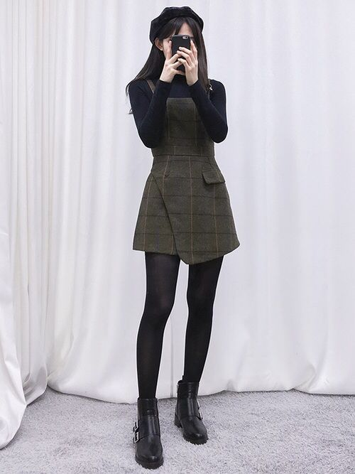 Korean fashion black turtleneck army green overall dress stockings and black ankle boots Korean fashion style shoes