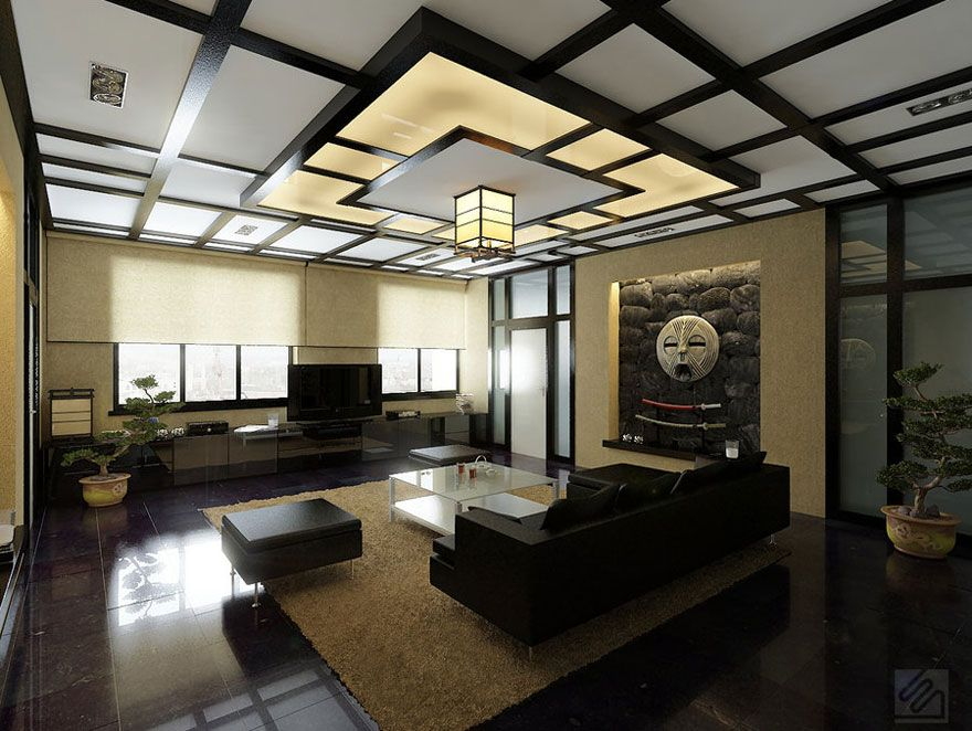 Modern Japanese Style Living Room With Japanese Style Ceiling And