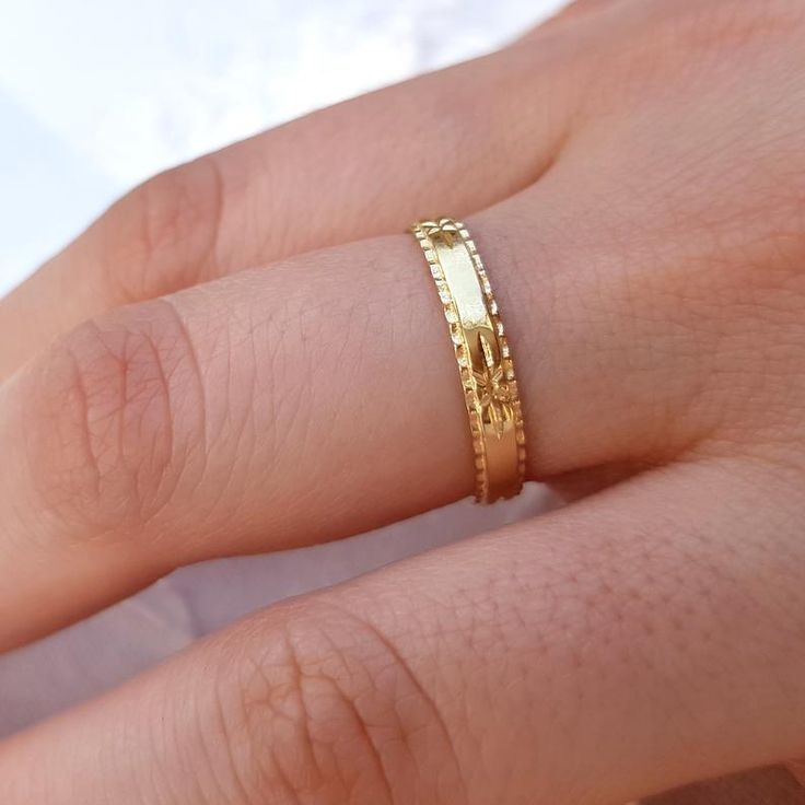 Gold Wedding Band Women 18k Wedding Band Engraved Gold Wedding Ring Art Deco Gold Ring Stack Wedding Ring Antique Style Wedding Band Gold Wedding Bands Women Gold Wedding Band Wedding Bands