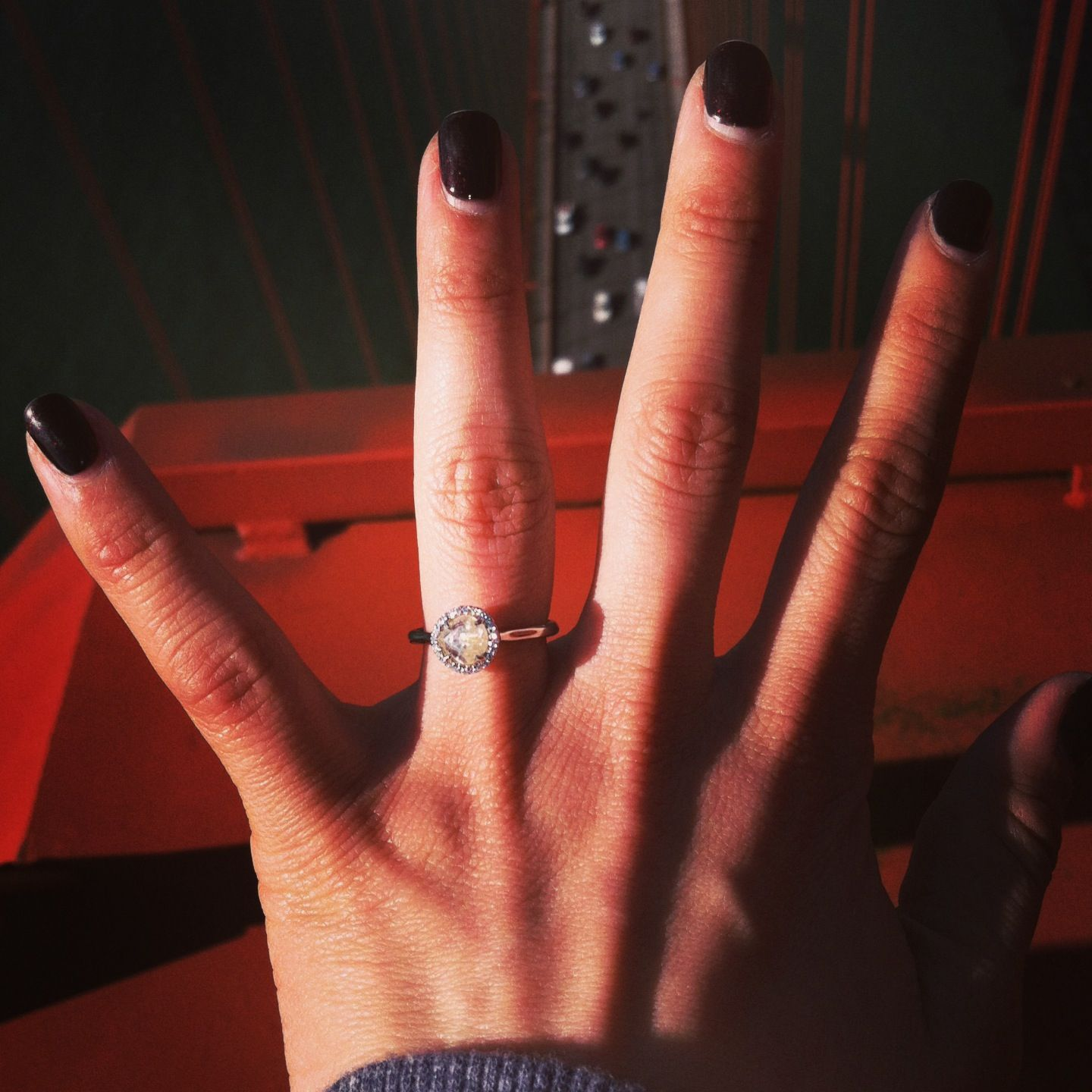 Engaged! Top of the Golden Gate Bridge! #diamondintherough