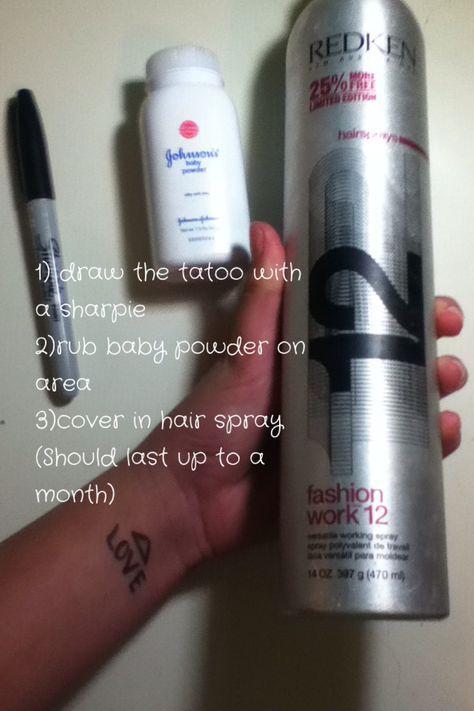 Sharpie Baby Powder And Hairspray Tattoo : sharpie, powder, hairspray, tattoo, Tatoo..VERY, IMPORTANT!, Spray, Hairspray, Farrr, Doesn't, Distort, 'tat…, Tattoo, Temporary, Tattoos,, Tatoos