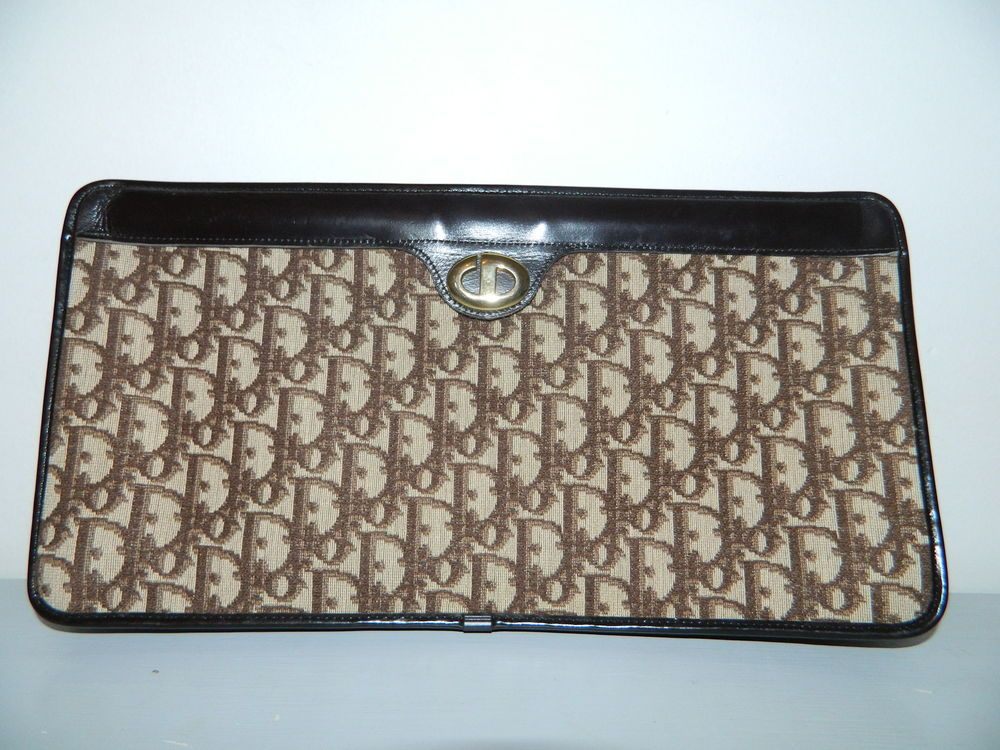 89aa1cfa35 Vintage CHRISTIAN DIOR brown leather monogram canvas clutch bag £51.20 (7B)