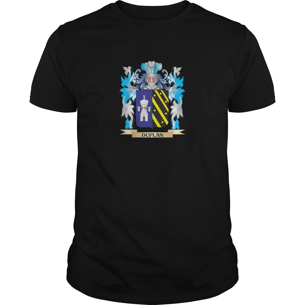 Duplan Coat of Arms - Family Crest - Perfect for Duplan family reunions or those proud of their family Duplan heritage.  Thank you for visiting my page. Please share with others who would enjoy this shirt. (Related terms: Duplan,Duplan coat of arms,Coat or Arms,Family Crest,Tartan,Duplan surname,...)