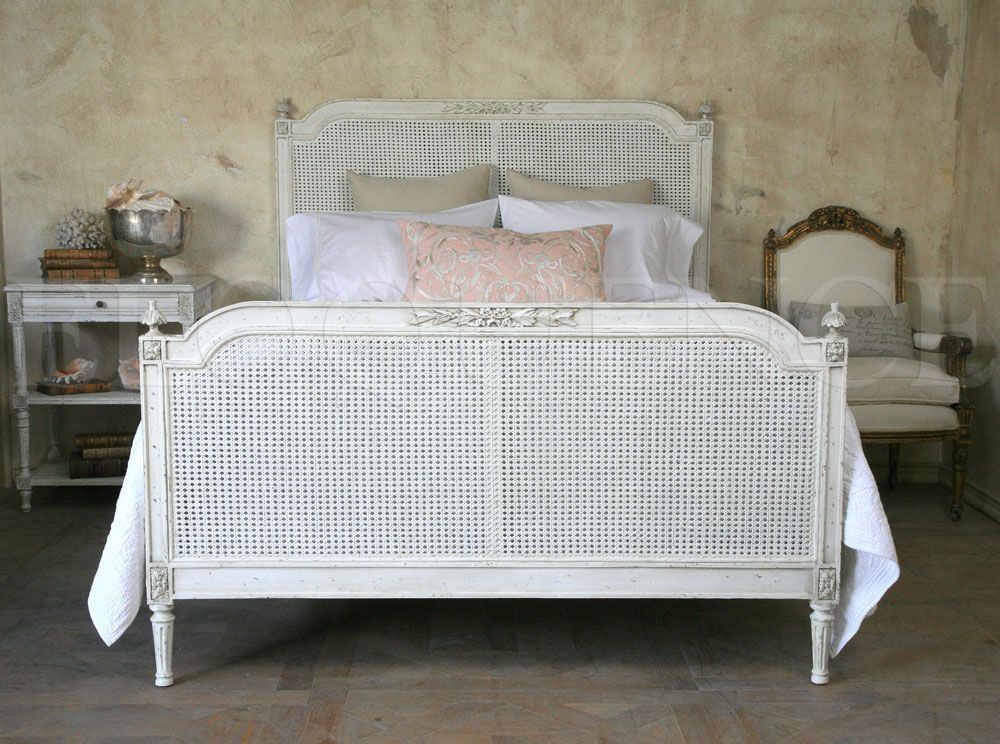 Antique Reproduction King Blanka Cane Bed French style