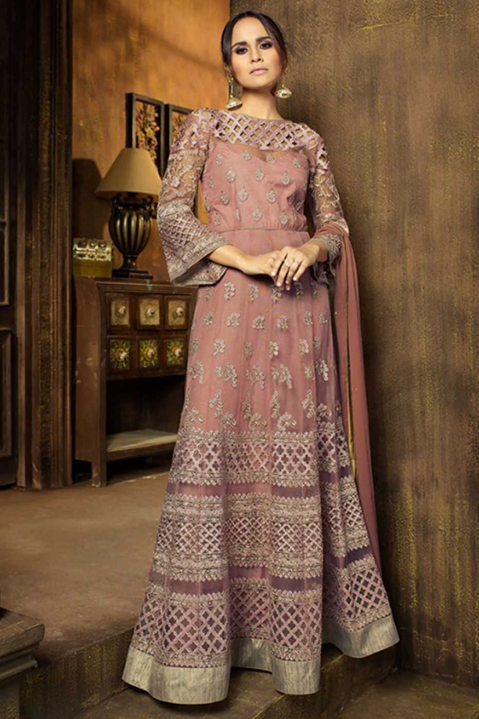 6ed0e12d4a Beautiful Peach Color Stylish Embroidery Work Traditional Fashion Net  Fabric Fancy Designer Festive Party Wear Gorgeous Look Floor Length Mother  Anarkali ...