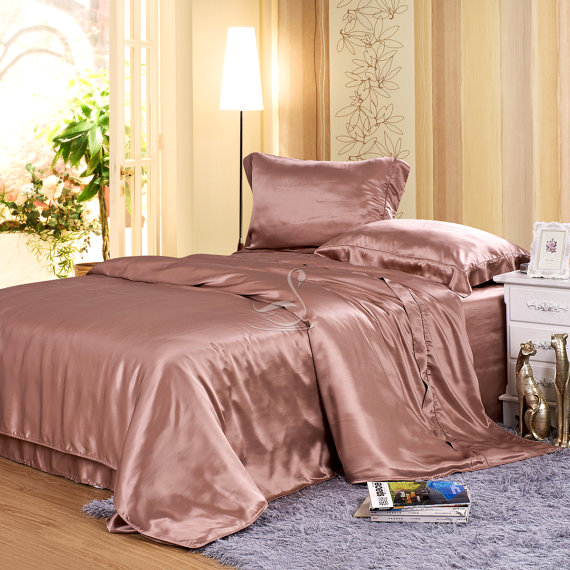 Rosy Brownsilk Duvet Cover Set 5pcs Silk Duvet By Silkyaffection Silk Duvet Cover Luxury Bedding Silk Bedding Set
