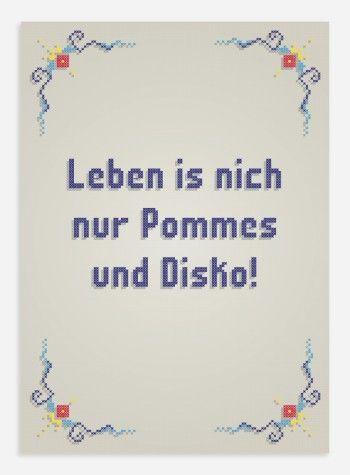 Poster Pommes Und Disko Poster Dortmunderisch Shop Spruche Witzige Spruche Coole Spruche