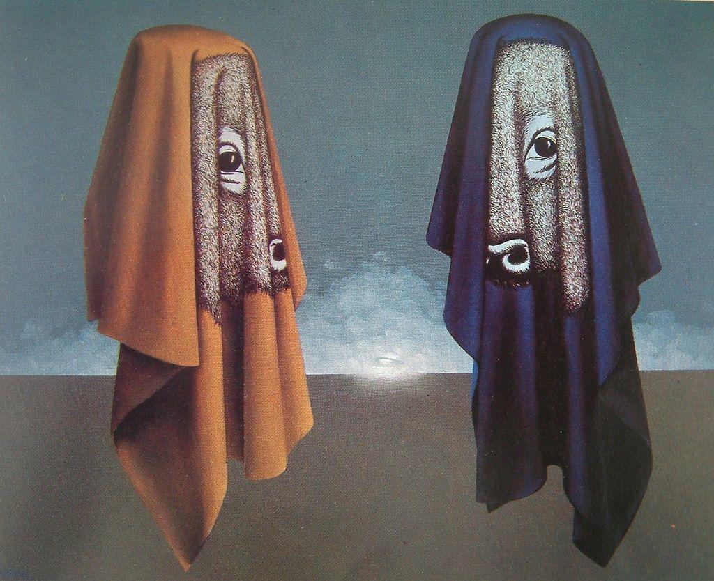 Les Hiérophantes Jambes et Membres by Felix Labisse, 1981. Oil on canvas.