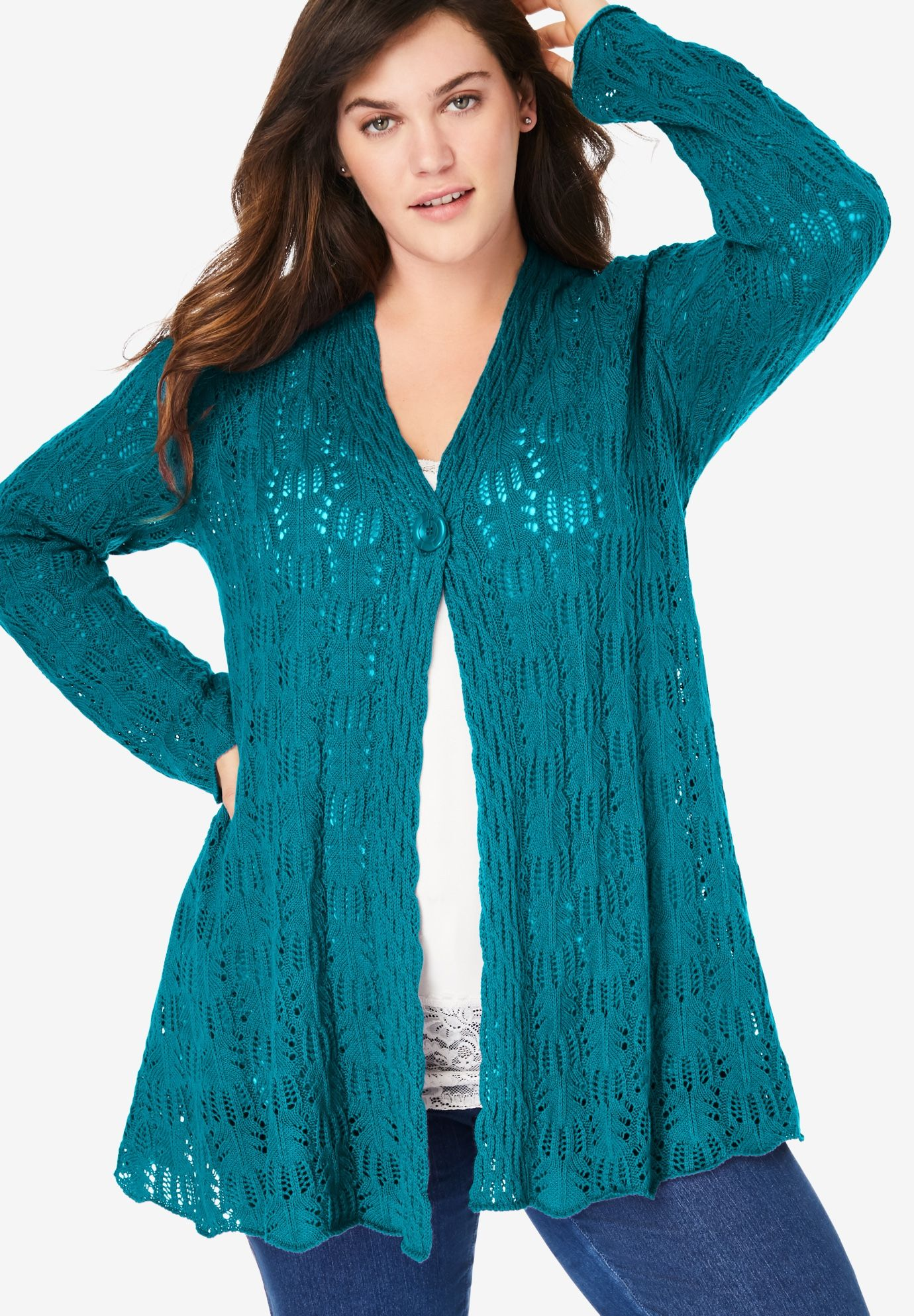 Woman Within Womens Plus Size Single Button Pointelle Cardigan