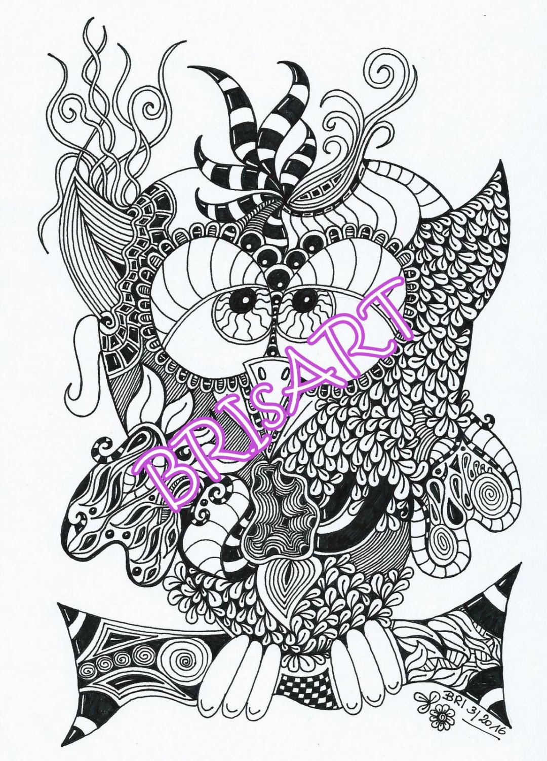 "Download Adult coloring ZenZia ""Eule""made by BRI Zentangles zendoodle Ausmalbilder"