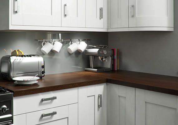 White kitchen walnut worktop google search kitchen for Grey kitchen white worktop