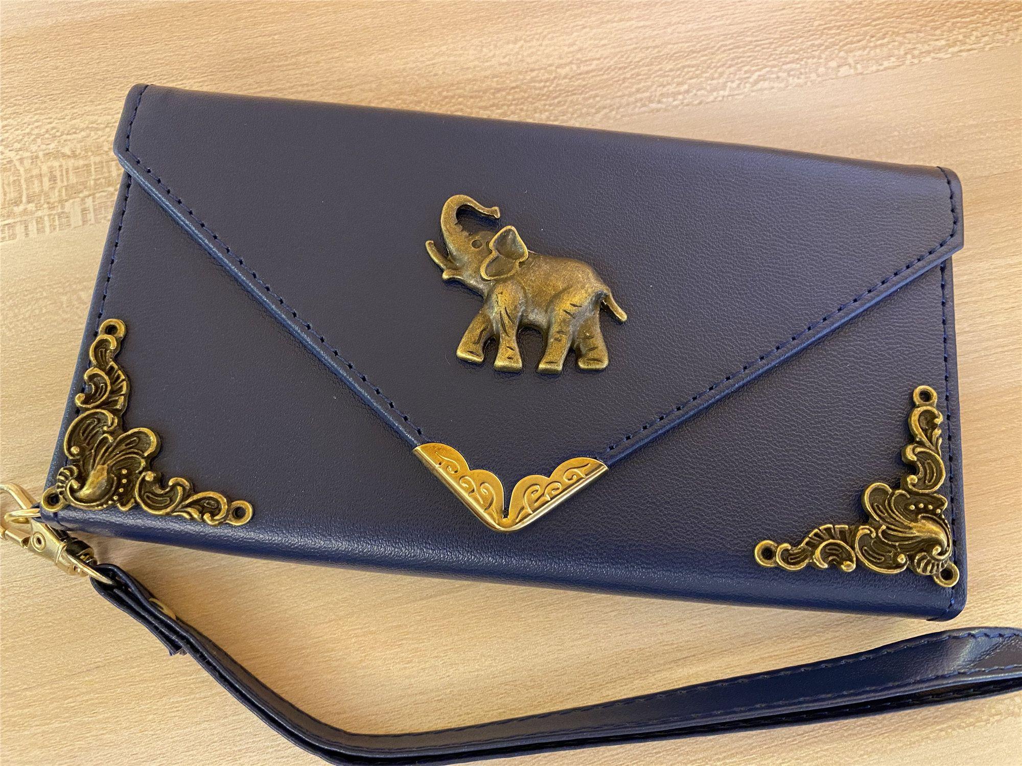 Elephant envelope wallet pu leather handmade case flip