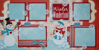 Love this turquoise & red combo for a winter layout!