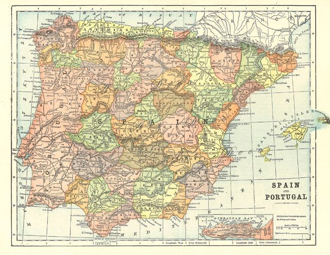 map of Spain and Portugal from 1904 vintage printable digital