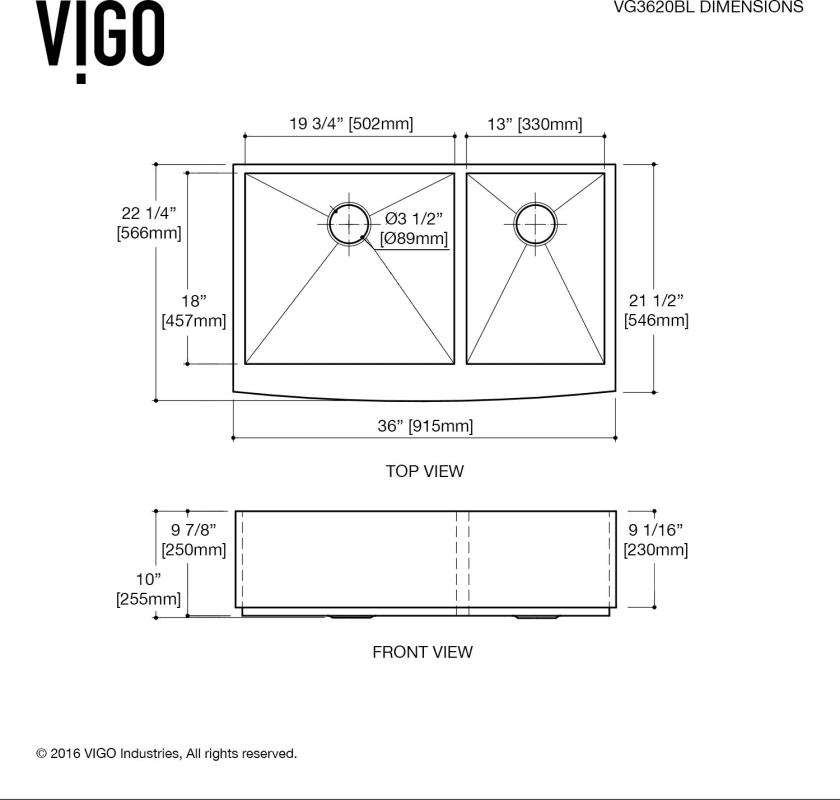 Vigo Vg3620blk1 Dimensions In Full Size Farmhouse Sink Kitchen Kitchen Sink Double Basin