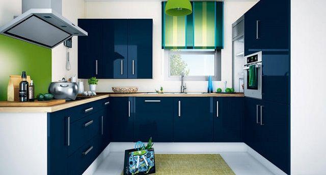 Cocina de color azul arqui d int cocina azul cocinas for Cocina pintura pato azul