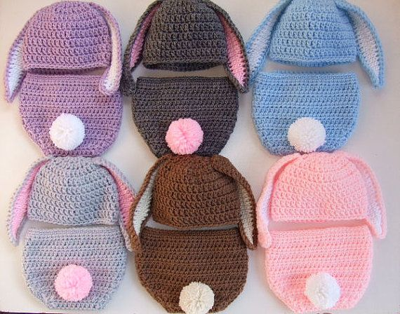 Crochet Baby Easter Bunny Hat Diaper Cover Photo Prop Click