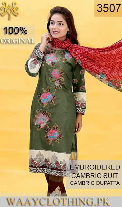 Wyfs 3507 Front Embroidery Designer 3pc Cambric Suit With Cambric