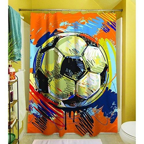Boys Red Orange Soccer Sports Themed Shower Curtain Polyester Graphic Art Pattern Detailed Colorful Football Printed