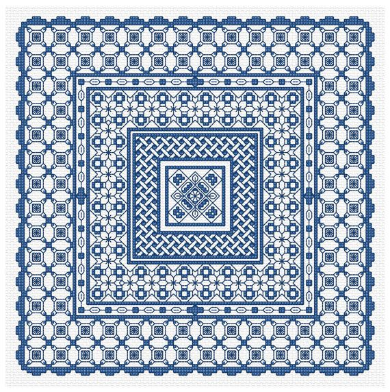 Blackwork Panel 1 in Blue PDF Chart via Etsy | Blackwork | Pinterest ...