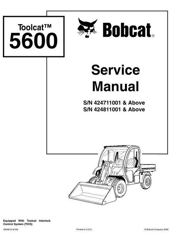 Bobcat Toolcat 5600 Utility Work Machine Service Manual