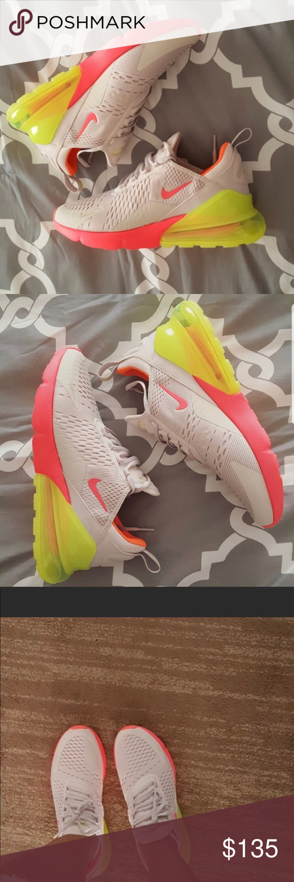 best website e748b 782f6 Nike Air Max 270. Women s 9.5 Like new. No visible signs of wear. Color  Desert  Sand Hot Punch Volt Total Orange   Vis Air Pack3-piece midsole offers ...