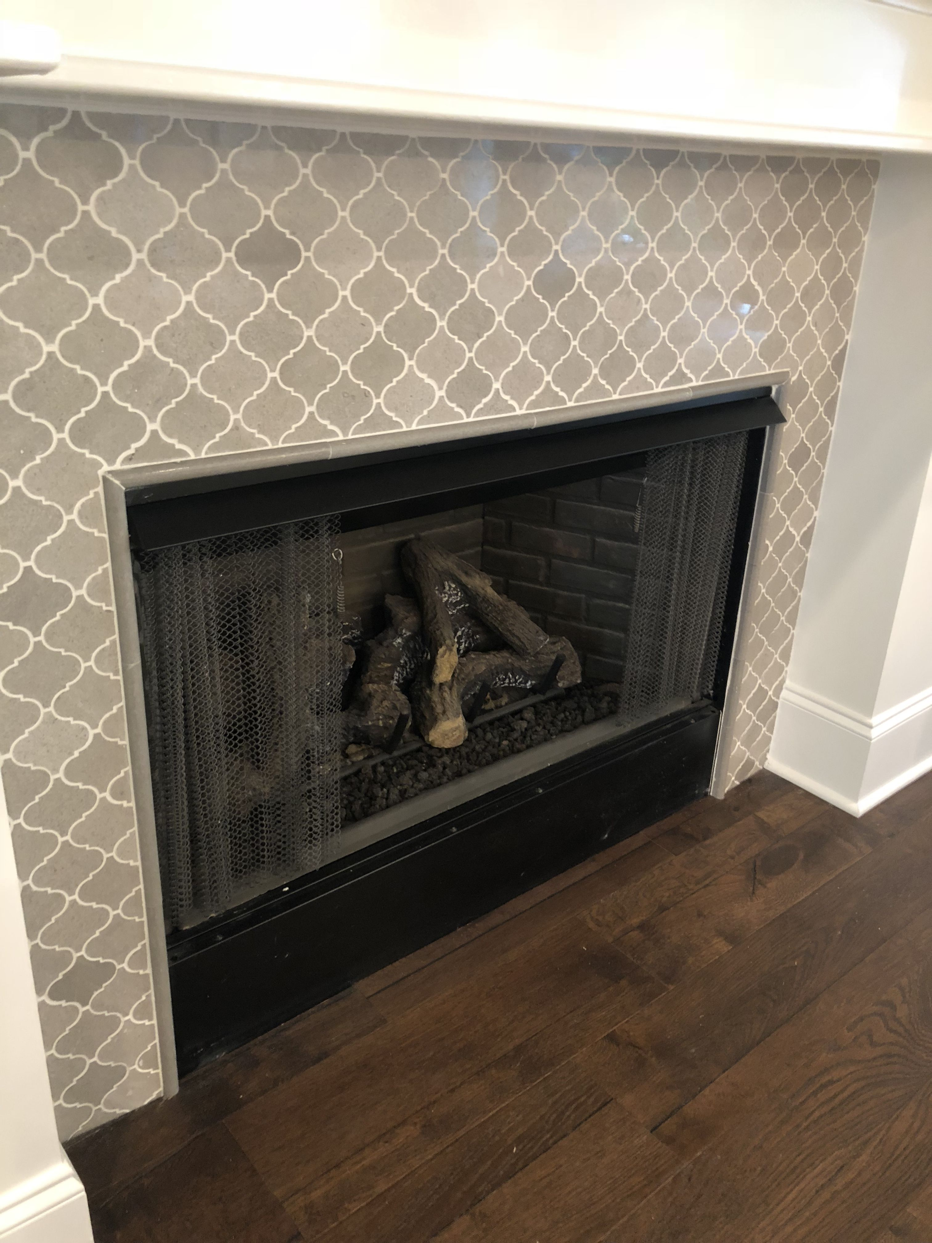Fireplace With Arabesque Surround Fireplace Tile Surround